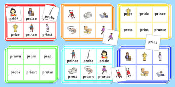 PR Bingo - speech sounds, phonology, articulation, speech therapy, cluster reduction, clusters, blends