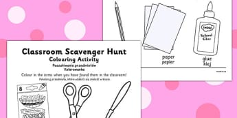 Classroom Scavenger Hunt Colouring Activity Polish Translation