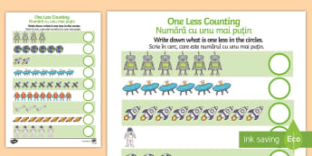 Space Themed One Less Counting Activity Sheet - English / Romanian - EAL, Space Themed One Less Counting Worksheet -maths, numeracy, KS1, key stage 1, counting, numbers,