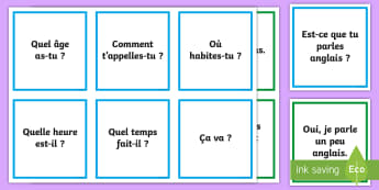 Question and Answer Matching Cards French - KS2, French, Resources, basic questions, answers, pairs, cards, matching, game
