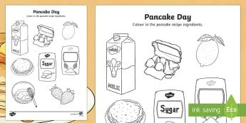Pancake Ingredients Colouring Page - Pancake Day UK Feb 28th, shrove Tuesday, pancakes, lent,