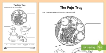 The Puja Tray Activity Sheet - hinduism, hindu, worship, shrine, worksheet, divali, diva, diya
