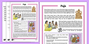 Puja Differentiated Comprehension Activity Sheet Pack, worksheet