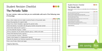 The Periodic Table Student Revision Checklist  - Student Progress Sheet (KS3), periodic table, groups, periods, neon, helium
