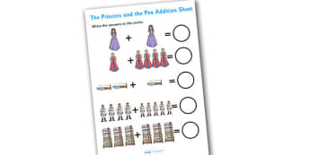 Princess and the Pea Addition Sheet - princess and the pea, addition, sheet, addition sheet, princess and the pea worksheet, addition worksheet, numeracy