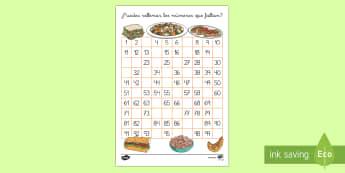 Tabla numérica para completar: La comida - números, recta numérica, 1-100, comer, sano, saludable, alimentación, dieta,Spanish
