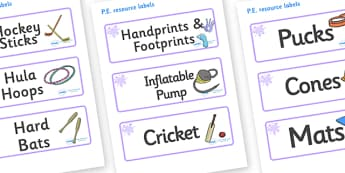 Lilac Themed Editable PE Resource Labels - Themed PE label, PE equipment, PE, physical education, PE cupboard, PE, physical development, quoits, cones, bats, balls, Resource Label, Editable Labels, KS1 Labels, Foundation Labels, Foundation Stage Labe