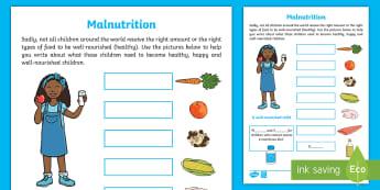 KS1 Malnutrition Activity Sheet - EY/KS1 Unicef, worksheet