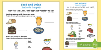 Food and Drink Activity Sheet English/Polish - healthy, eating, health, drinking, fruit, vegetables,Polish-translation