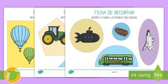 Ficha de motricidad fina...recortar: El transporte - transporte, coche, camión, avión, globo aerostático, autobús, moto, motocicleta, vía, carretera