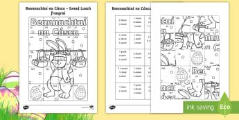 Beannachtaí na Cásca Ionad Luach Leathanach Oibre Activity Sheet - NI Easter, Place Value, Hundreds, Tens, Units, Colouring In, Maths Challenge, Maths activity, An Ch