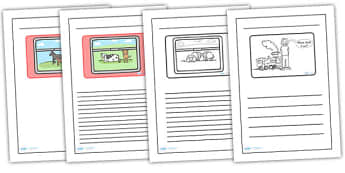 The Train Ride Black and White Lined Writing Frames - the train ride colour and write, the train ride writing frames, the train ride writing templates