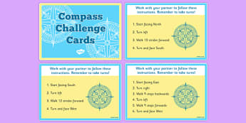 Compass Challenge Cards - compass, challenge cards, challenge