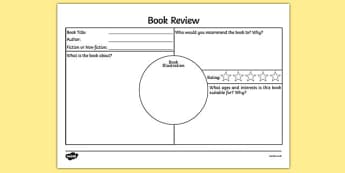 Book Review Activity Sheet - book review, book review sheet, writing a book review, book review template, book review writing frame, ks2 literacy, reading