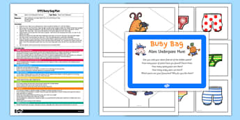 Alien Underpant Hunt EYFS Busy Bag Plan and Resource Pack to Support Teaching on Aliens Love Underpants - scavenger hunt, wooden spoon puppet, Early Years planning
