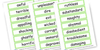 Bad Synonym Word Cards - Synonyms & Antonyms Primary Resources, similar words