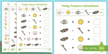 Tricky Treasure Problems Differentiated Activity Sheets - code, break, solve, problem, number, addition, subtraction, multiplication, division, maths, ks1, tr