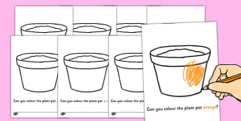 Colouring Plant Pots - Plant pots, garden centre, plants, plant, topic, colour recognition, fine motor skills