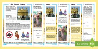 The Golden Temple Differentiated Fact File - KS2, Sikh, Golden Temple, sacred, Guru, Guru Granth Sahib, yatra, Amrit Saras Kand, langar, pangat,