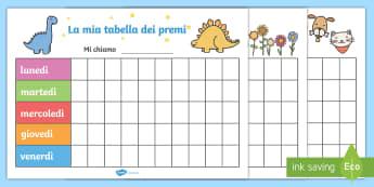 La tabella dei premi Attività - la, tabella, dei, premi, comportamento, di, classe, regole, italiano, italian, materiale, scolastico