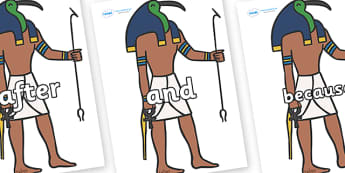 Connectives on Egyptian Gods - Connectives, VCOP, connective resources, connectives display words, connective displays
