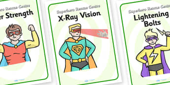 Superhero Rescue Centre Role Play Diplay Posters - superhero, rescue centre, role play, display posters, superhero posters, superhero role play, posters