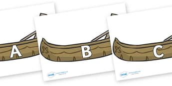 A-Z Alphabet on Canoes - A-Z, A4, display, Alphabet frieze, Display letters, Letter posters, A-Z letters, Alphabet flashcards