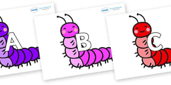 A-Z Alphabet on Caterpillars - A-Z, A4, display, Alphabet frieze, Display letters, Letter posters, A-Z letters, Alphabet flashcards
