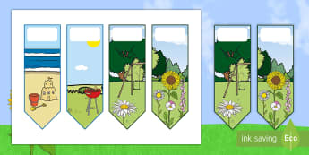 Summer-Themed Bookmarks - sun, library, reading, name, books, summer