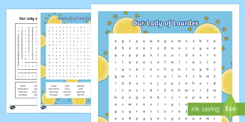 Our Lady of Lourdes Word Search - Our Lady of Lourdes, Virgin Mary, word search, vocabulary, Lourdes, Marian shrine, grotto, writing,
