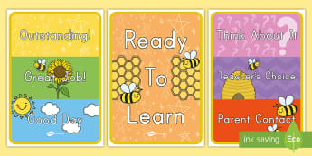 Bee Themed Behavior Display Sign - class organisation, classroom management, wall, hive, beehive, poster, chart, rules