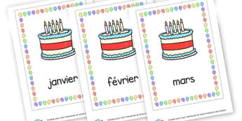 Birthday Months French - French Months of the Year Primary Resource, French,Language,Months
