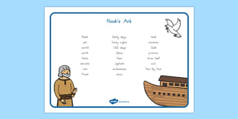 Noah's Ark Word Mat - usa, america, Noah's Ark, word mat, mat writing aid, noah, tools, ark, animals, rain, rainbow, flood, dove, land