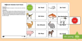 Different Animals Card Game German - German Games, German card games, German animals, German pets, German farm animals.,Scottish-translat