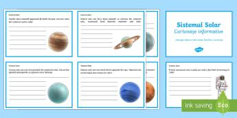 Sistemul solar - Completează cartonașele informative - sistem solar, sistemul solar, română, fișe, amteriale, planete, stiintele pamantului, spatiul cos