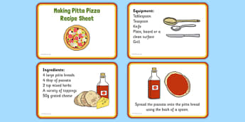 Making Pitta Pizza Recipe EYFS Recipe Cards - EYFS planning, Early years activities, traditional tales, food