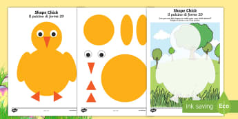 Chick 2D Shape Activity Sheets English/Italian - EYFS, Early Years, KS1, Easter, chicks, spring, Maths, 2D shapes, shape recognition, shape picture,
