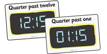 Digital Clocks - Quarter Past - Time resource, digital clock, Time vocaulary, clock face, O clock, half past, quarter past, quarter to, shapes spaces measures