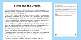 Fionn and the Dragon Printable Story Sheet - Irish history, Irish story, Irish myth, Irish legends, Fionn and the Dragon, printable story, story sheet