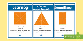 Properties and Symmetry of 2D Shapes Display Facts Posters Gaeilge - Properties and Symmetry of 2D Shapes   Display Facts Posters,Irish, Gaeilge, Shape and space, ,Irish