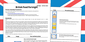 British Food Fortnight Assembly Script - british food fortnight