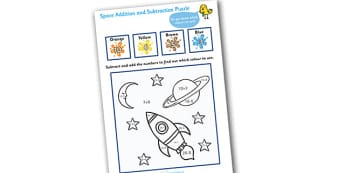 Space Addition and Subtraction Puzzle (0-20) - space, subtraction, addition, add,  minus, maths game, math, activity, maths, numeracy
