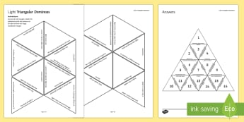 Light Waves Triangular Dominoes - Tarsia, Triangular Dominoes, Light Waves, Reflection, Refraction, Spectrum, revision