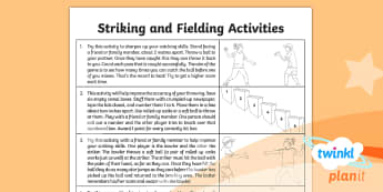 PlanIt Year 3 Striking and Fielding Home Learning Tasks - Striking and Fielding, PE, physical education, exercise, sports, Y3, Year 3, year three, KS2, lks2,