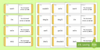 Shortened Words Loop Cards - ROI- Shortened words, grammar, contractions, loop cards, Jolly Grammar, punctuation, spelling, spag,