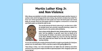 Dr Martin Luther King and Non-Violence Information Sheet