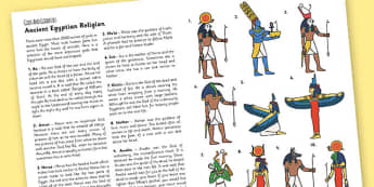 The Ancient Egyptians Egyptian Gods Information Print Out