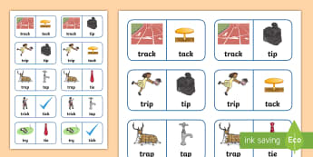 'tr' and 't' Near Minimal Pair Dominoes - tr, r, cluster reduction, cluster simplification, near minimal pairs, minimal pairs, speech