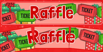 Christmas Themed Raffle Banner - christmas fair, display banner, display, banner, raffle