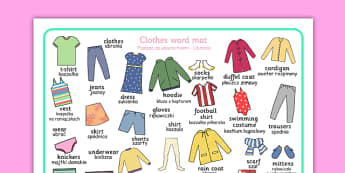 Clothes Word Mat Polish Translation - polish, clothes, word mat, word, mat